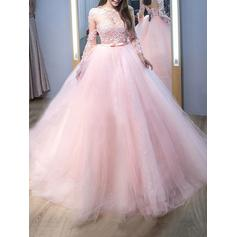 Ball-Gown Scoop Neck Sweep Train Prom Dresses With Lace (018211007)