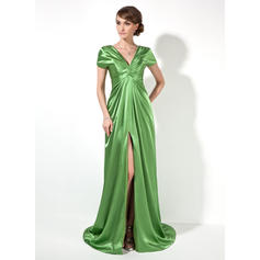 A-Line/Princess V-neck Sweep Train Evening Dresses With Ruffle Split Front (017022522)