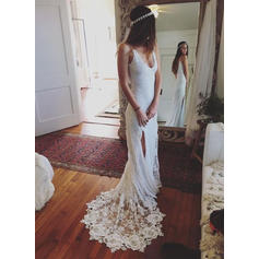Magnificent Deep V Neck Sheath/Column Wedding Dresses Court Train Lace