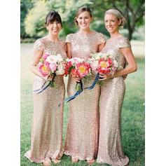 Sheath/Column Scoop Neck Floor-Length Bridesmaid Dresses