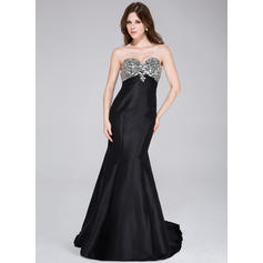 Trumpet/Mermaid Sweetheart Sweep Train Prom Dresses With Beading (018034502)