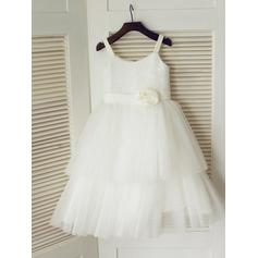 A-Line/Princess Scoop Neck Tea-length With Flower(s) Tulle/Sequined Flower Girl Dresses (010211986)