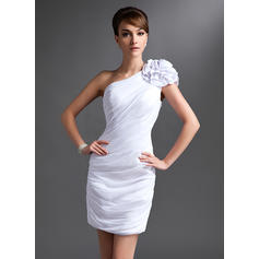 Sheath/Column Chiffon Sleeveless One-Shoulder Short/Mini Zipper Up at Side Mother of the Bride Dresses