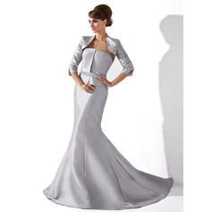 Trumpet/Mermaid Taffeta Sleeveless Strapless Court Train Zipper Up Mother of the Bride Dresses (008006234)