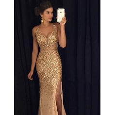 Sheath/Column V-neck Floor-Length Prom Dresses With Split Front