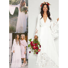Deep V Neck A-Line/Princess Wedding Dresses Chiffon Lace Sash Long Sleeves Floor-Length