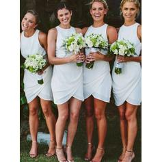 Sheath/Column Chiffon Bridesmaid Dresses Ruffle Scoop Neck Sleeveless Short/Mini