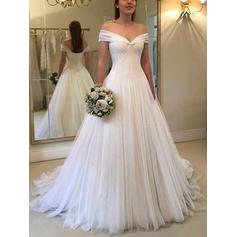A-Line/Princess Off-The-Shoulder Sweep Train Wedding Dresses With Ruffle