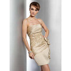 Sheath/Column Strapless Short/Mini Satin Cocktail Dresses With Ruffle Beading Appliques Lace Flower(s) (016014733)