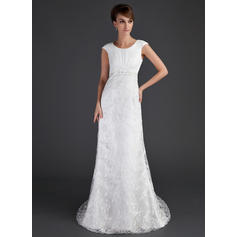 A-Line/Princess Lace Short Sleeves Scoop Court Train Wedding Dresses
