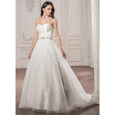 Ball-Gown Sweetheart Court Train Wedding Dresses With Ruffle Beading Sequins