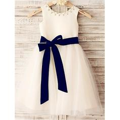 A-Line/Princess Scoop Neck Knee-length With Sash/Beading Satin/Tulle Flower Girl Dresses (010211830)