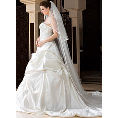 Chapel Bridal Veils Tulle Two-tier Drop Veil With Ribbon Edge Wedding Veils