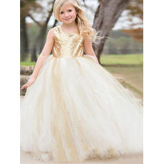 Chic Scoop Neck Ball Gown Flower Girl Dresses Floor-length Tulle/Sequined Sleeveless (010145243)