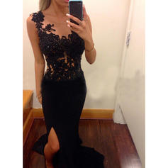 Sheath/Column Chiffon Prom Dresses Appliques Lace Scoop Neck Sleeveless Sweep Train