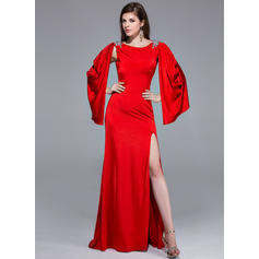 A-Line/Princess Jersey Prom Dresses Beading Split Front Scoop Neck Long Sleeves Sweep Train (018025508)