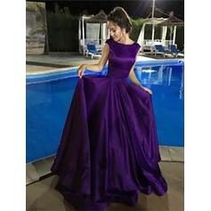 A-Line/Princess Scoop Neck Floor-Length Prom Dresses With Ruffle (018210994)