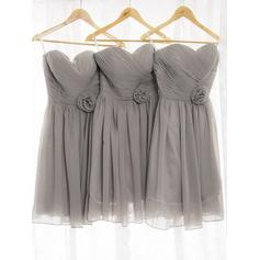 A-Line/Princess Sweetheart Knee-Length Bridesmaid Dresses With Ruffle Flower(s)