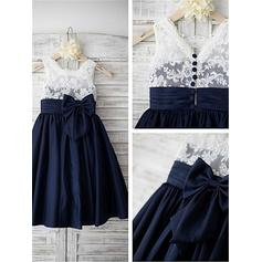 A-Line/Princess Straps Tea-length With Bow(s) Chiffon/Lace Flower Girl Dresses (010211827)