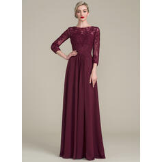 A-Line/Princess Scoop Neck Floor-Length Chiffon Lace Evening Dress With Ruffle Beading Sequins (017130716)