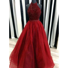 Ball-Gown Tulle Prom Dresses Beading High Neck Sleeveless Floor-Length