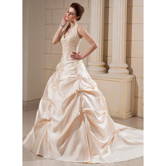 Ball-Gown Satin Sleeveless Halter Cathedral Train Wedding Dresses (002000678)