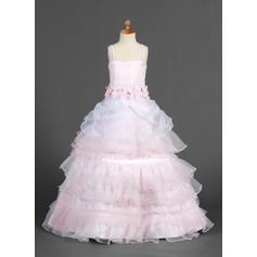 Luxurious Straps A-Line/Princess Flower Girl Dresses Floor-length Organza/Satin Sleeveless