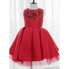 Ball Gown Scoop Neck Knee-length With Sequins Satin/Tulle/Sequined Flower Girl Dresses