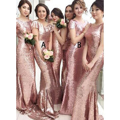Sheath/Column Sequined Bridesmaid Dresses Scoop Neck Short Sleeves Sweep Train (007211567)