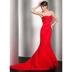 Trumpet/Mermaid Sweetheart Sweep Train Evening Dresses With Beading (017014550)