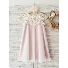 A-Line/Princess Knee-length Flower Girl Dress - Chiffon/Lace Sleeveless Scoop Neck With Lace