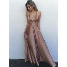 A-Line/Princess V-neck Floor-Length Evening Dresses