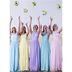 A-Line/Princess Chiffon Lace Bridesmaid Dresses Scoop Neck Sleeveless Floor-Length (007144961)