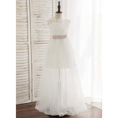 A-Line/Princess Floor-length Flower Girl Dress - Tulle/Lace Sleeveless Scoop Neck With Sash/Rhinestone
