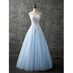 A-Line/Princess Sweetheart Floor-Length Prom Dresses With Lace Beading Appliques Lace (018196683)