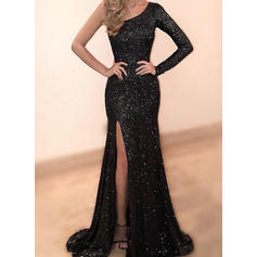 Beautiful Sequined Evening Dresses Trumpet/Mermaid Sweep Train One-Shoulder Long Sleeves (017210118)