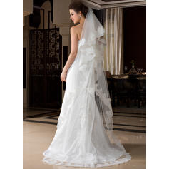 Chapel Bridal Veils Tulle One-tier Oval/Drop Veil With Lace Applique Edge Wedding Veils