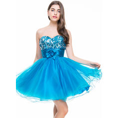 A-Line/Princess Sweetheart Short/Mini Homecoming Dresses With Ruffle Flower(s) (022069012)