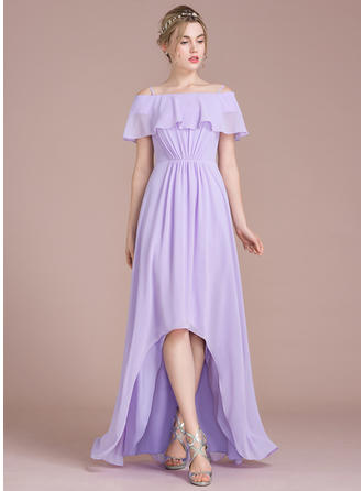 A-Line Off-the-Shoulder Asymmetrical Chiffon Bridesmaid Dress