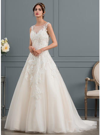 Ball-Gown/Princess Illusion Court Train Tulle Wedding Dress With Beading