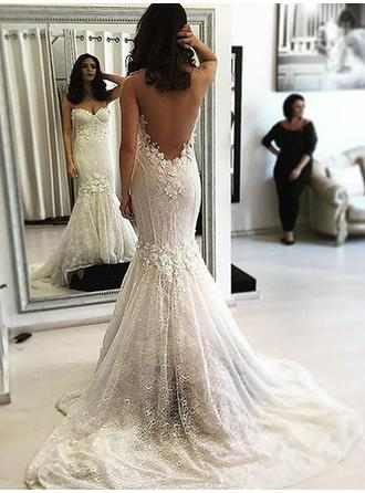 Trumpet/Mermaid Sweetheart Sweep Train Wedding Dresses With Beading Appliques Lace