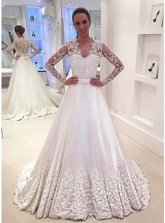 Princess V-neck A-Line/Princess Wedding Dresses Court Train Satin Long Sleeves