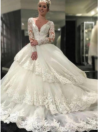 Ball-Gown Tulle Lace Long Sleeves Deep V Neck Royal Train Wedding Dresses