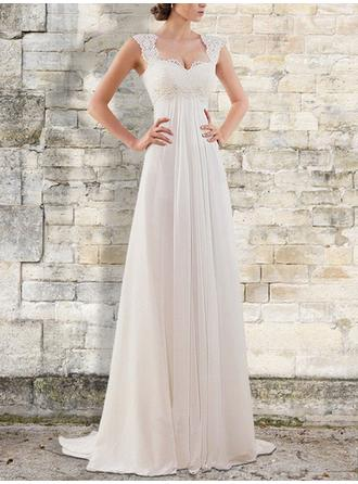 Empire V-neck Square Sweep Train Wedding Dresses With Ruffle Lace