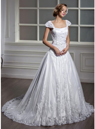 Chic Square A-Line/Princess Wedding Dresses Court Train Tulle Short Sleeves