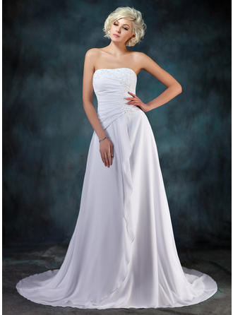 A-Line/Princess Sweetheart Court Train Wedding Dresses With Beading Appliques Lace Cascading Ruffles