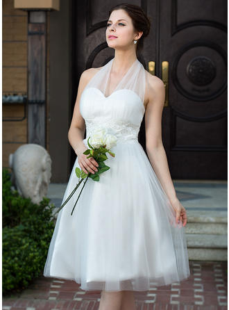 Fashion Halter A-Line/Princess Wedding Dresses Knee-Length Charmeuse Tulle Sleeveless