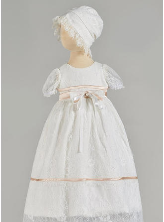 A-Line/Princess Scoop Neck Floor-length Tulle Christening Gowns With Beading Bow(s)