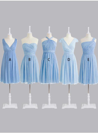 A-Line/Princess Sweetheart One-Shoulder V-neck Knee-Length Bridesmaid Dresses With Ruffle