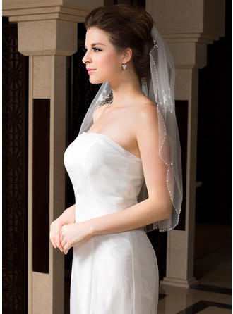 Elbow Bridal Veils Tulle One-tier Oval/Mantilla With Beaded Edge Wedding Veils